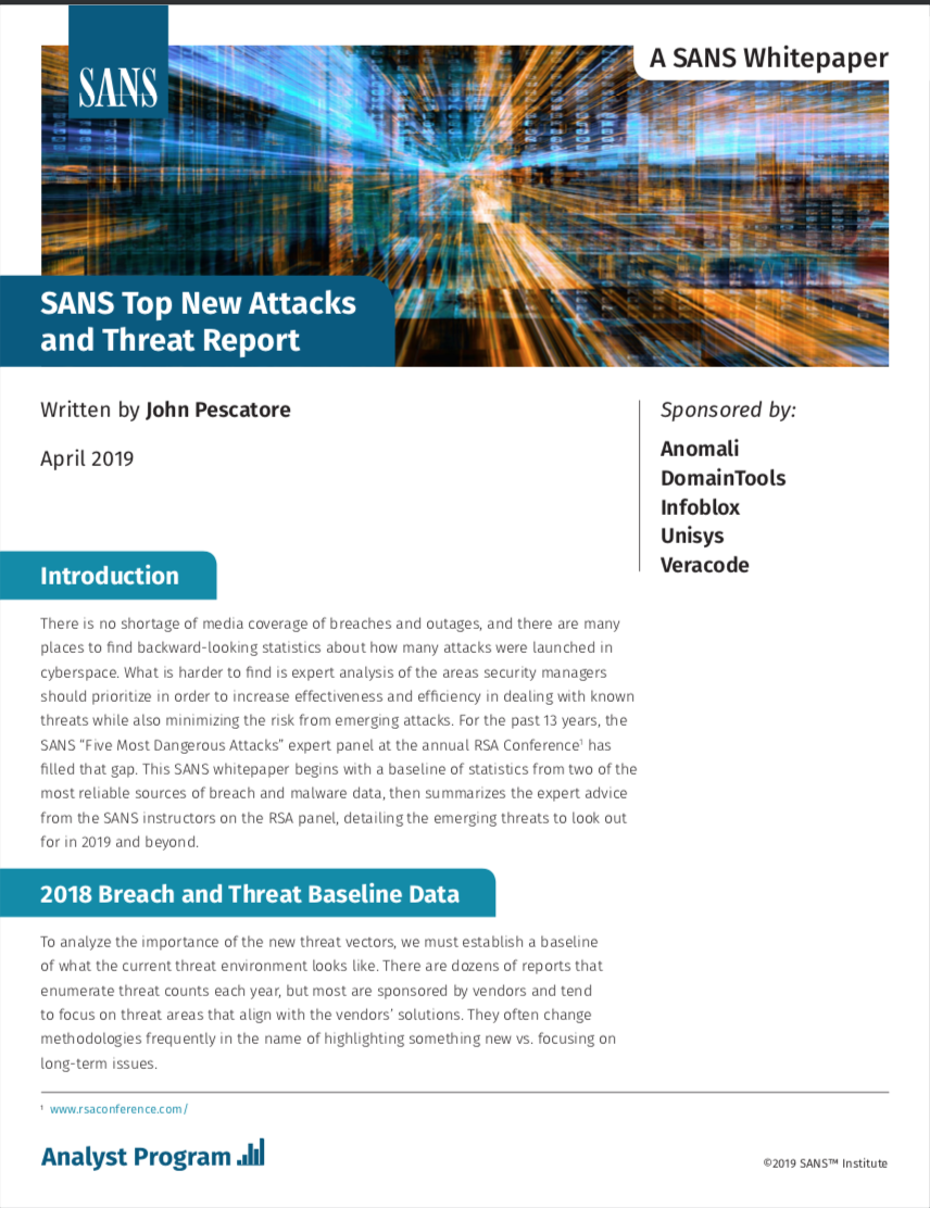 SANS Top New Attacks and Threat Report | White Papers